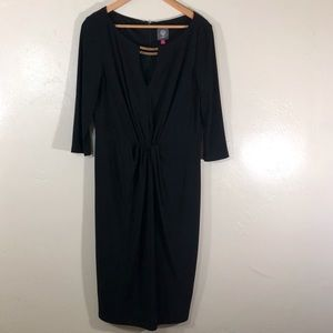 Vince Camuto 3/4 sleeve black dress gold necklace